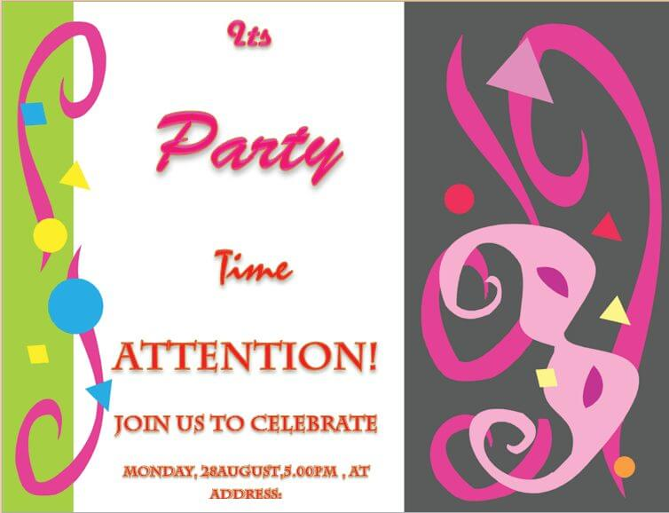 Party Invitation Template for Microsoft® Word