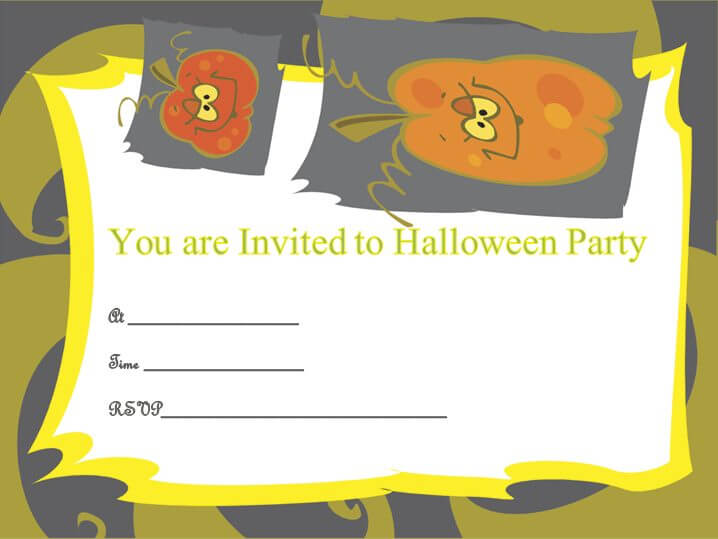 Pumpkin Theme Halloween Party Invitation Template