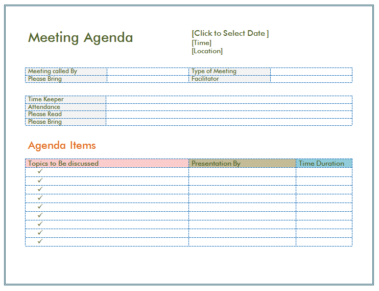 Simple Meeting Agenda Template  Blank Meeting Agenda Template