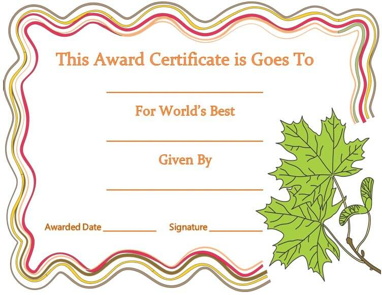 World's Best Award Certificate Template for Word