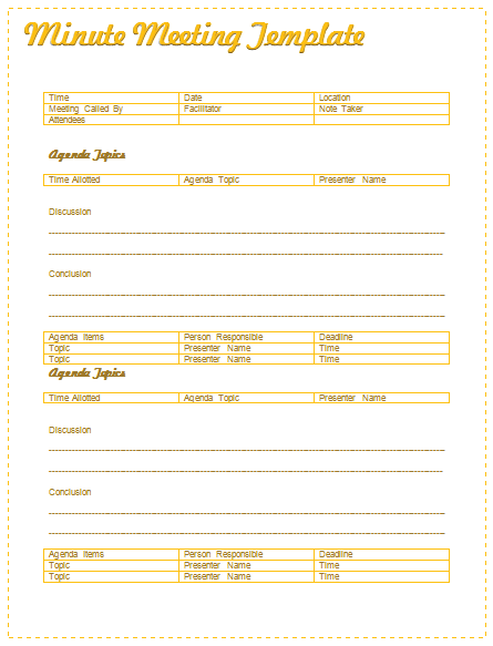 meeting minutes template best for formal informal meetings