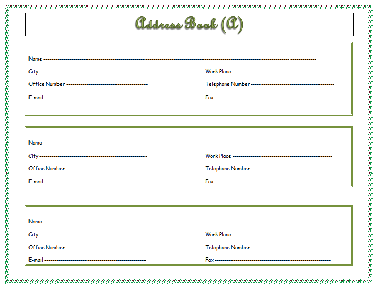 Address Book Template for Microsoft® Word