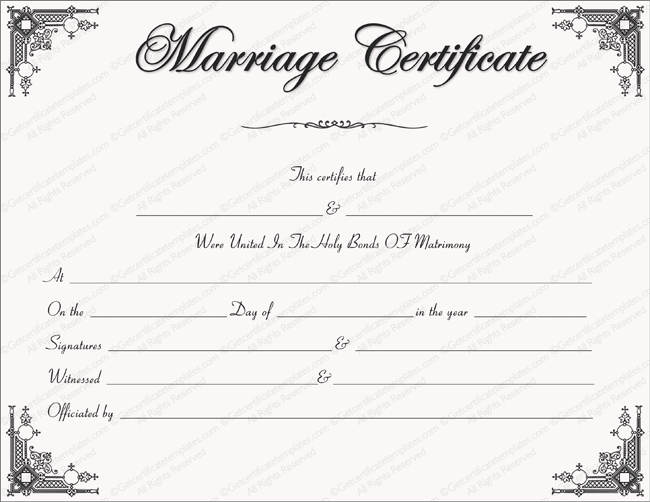 Marriage Certificate Template - Write Your Own Certificate