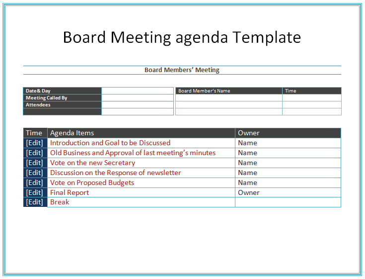 Board Meeting Agenda Template for Microsoft® Word