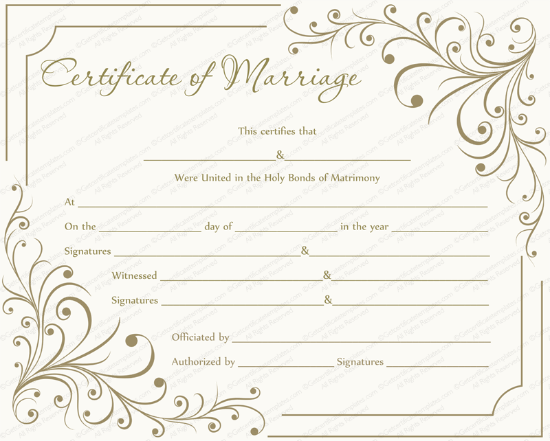 Marriage Certificate Templates From Getcertificatetemplates.com  Blank Certificate Templates For Word Free