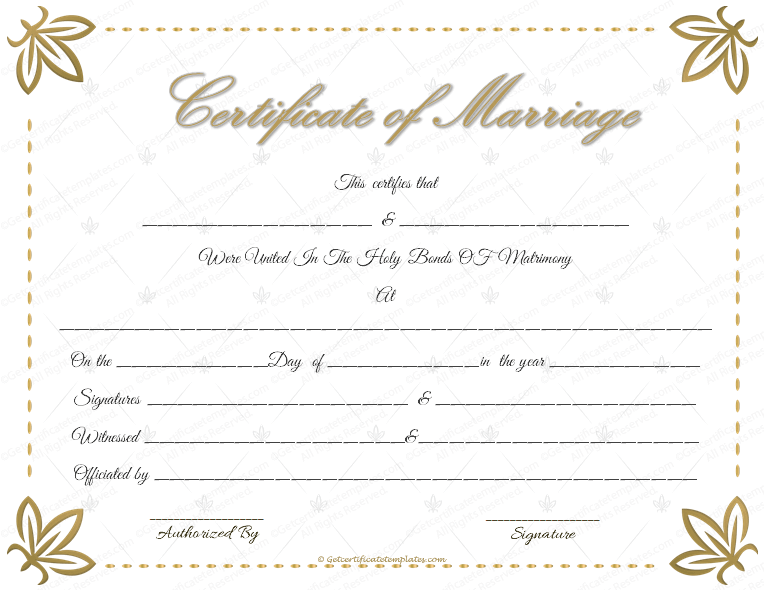 How To Get A Marriage License With Pictures: Marriage Certificate Template