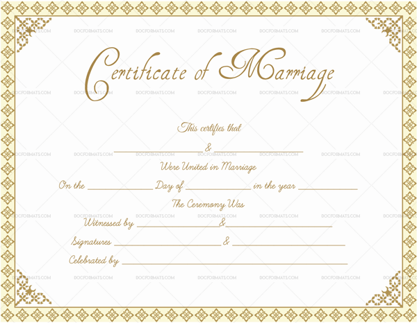 Fillable Marriage Certificate Template
