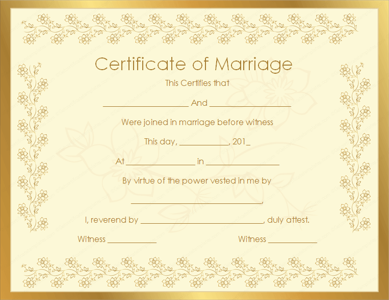 Marriage certificate template write your own certificate fillable marriage certificate getcertificatetemplates yadclub Choice Image
