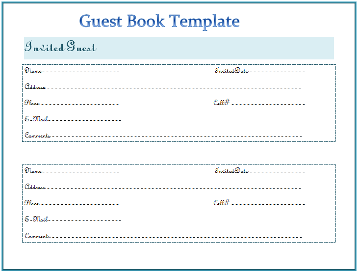 Guest Book Template For Word  Book Template Word