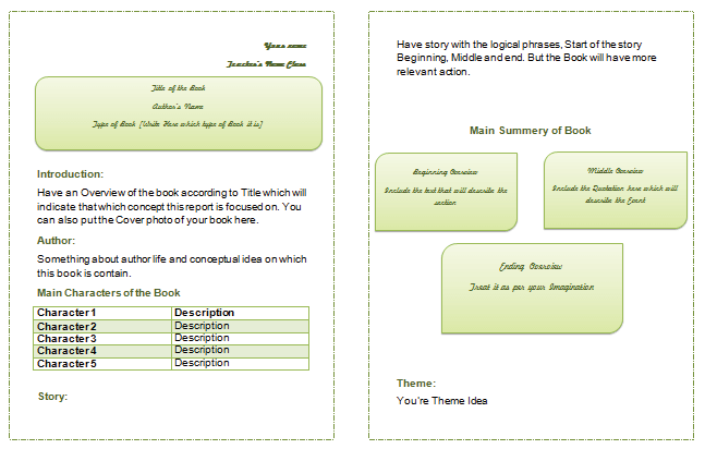Book Report Templates for Middle and High Schools