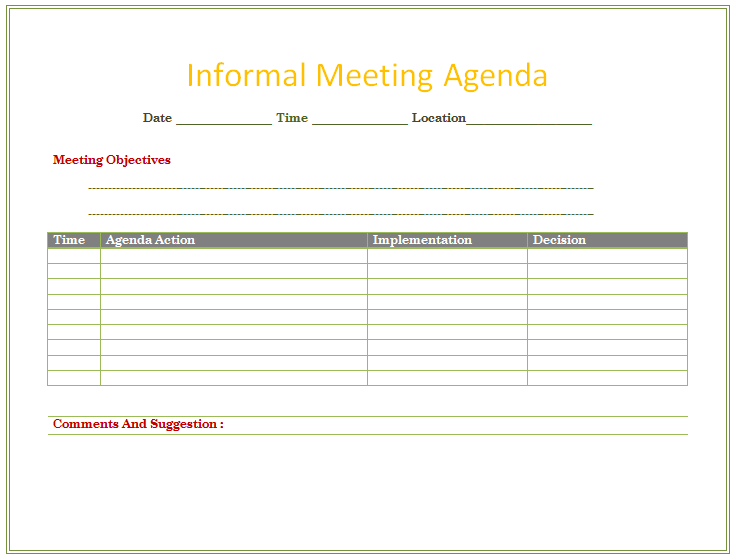 Informal Meeting Agenda Format Sample