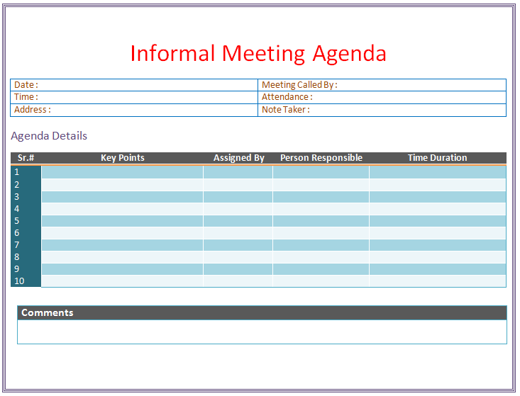 Informal Meeting Agenda Template for Microsoft® Word