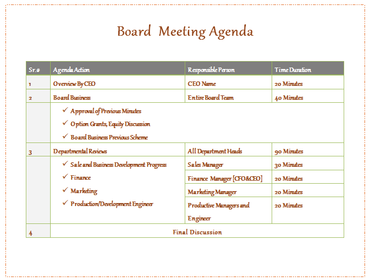 Non Profit Board Meeting Agenda Template  Microsoft Word Meeting Agenda Template