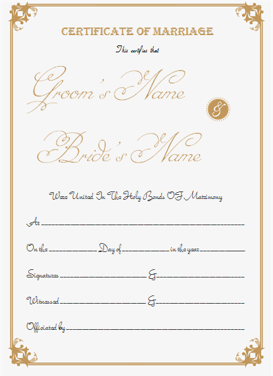 Portrait Marriage Certificate Template for Word