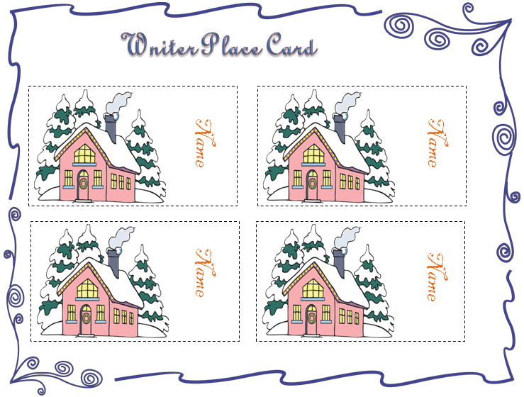 Winter Themed Place Card Template