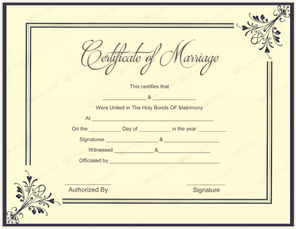 Marriage Certificate Format  Certificate Samples In Word Format