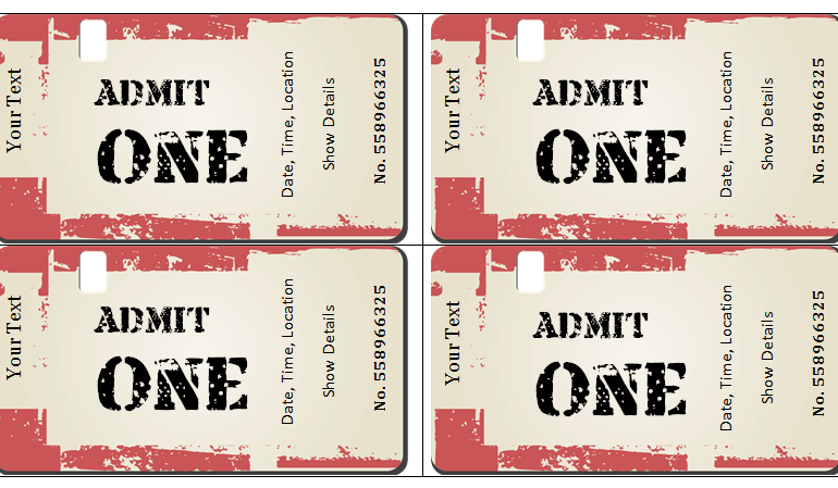 Event Ticket Templates for Mac at Document Templates – Theatre Ticket Template