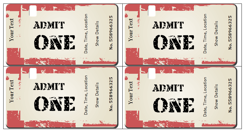 Printable Ticket Templates Download Free For Excel