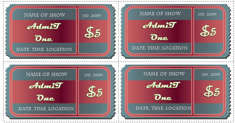 Avery Ticket Template  Concert Ticket Layout