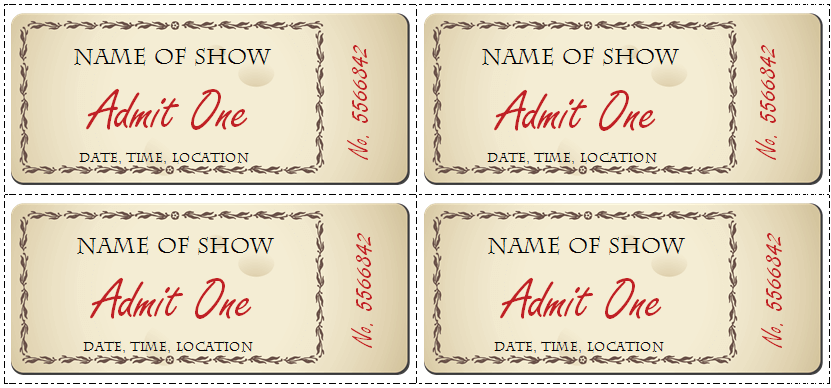 photograph regarding Free Printable Tickets Template known as 6 Ticket Templates for Term toward Style and design your Private No cost Tickets