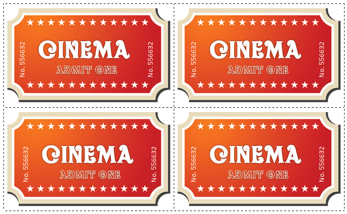 graphic relating to Free Printable Movie Tickets named 6 Online video Ticket Templates in the direction of Style and design Custom-made Tickets