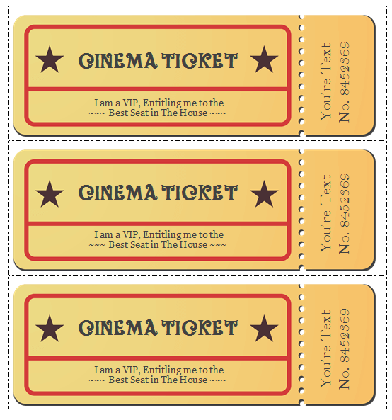 image regarding Printable Movie Tickets called 6 Video clip Ticket Templates towards Style and design Personalized Tickets