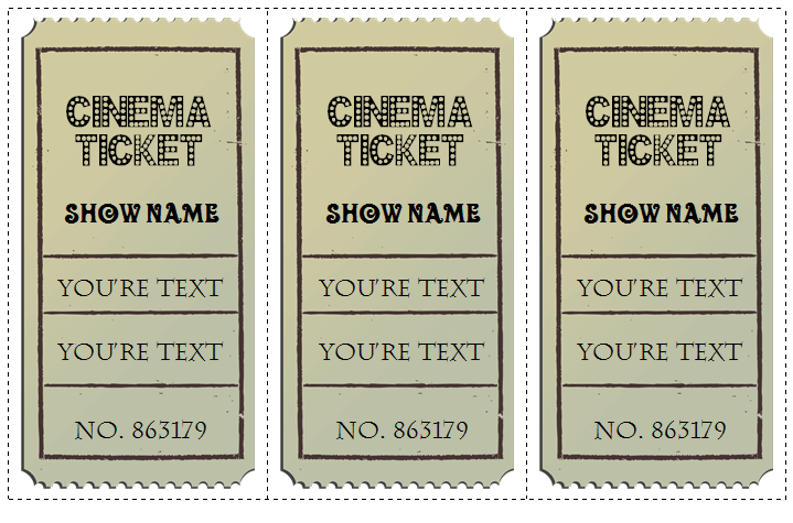 Movie Ticket Template For Word  Play Ticket Template