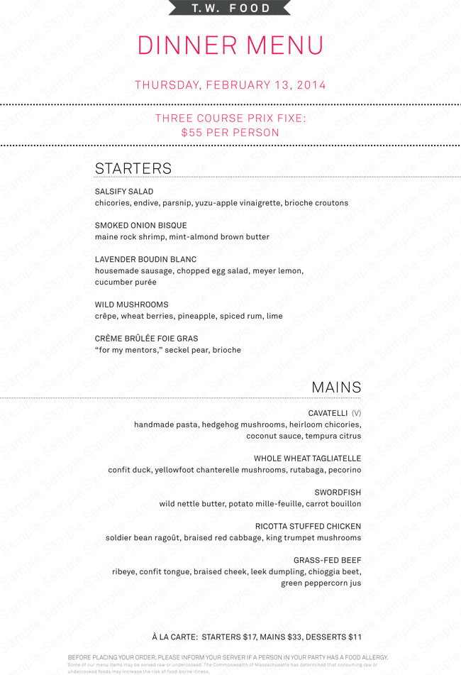 Dinner Menu Planner  A La Carte Menu Template