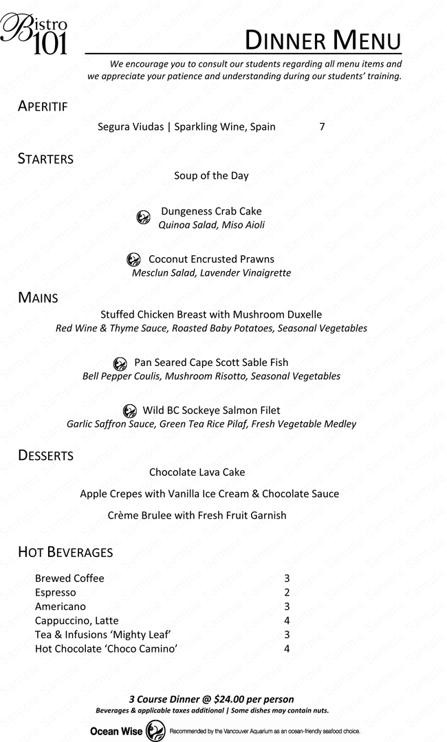 Dinner Menu Template for Home