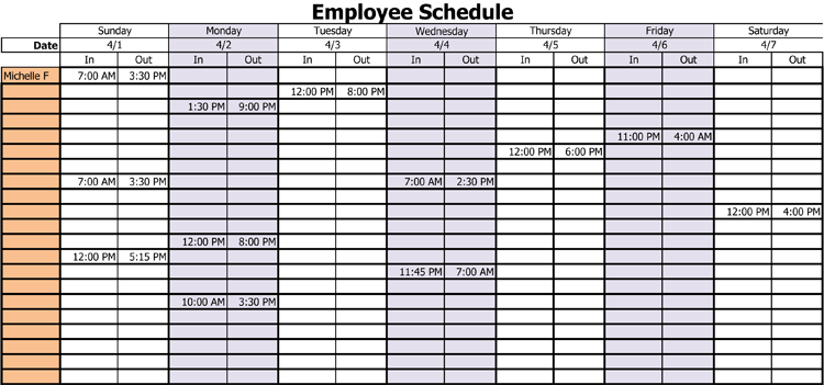 Professional Work Schedule Template for Employee