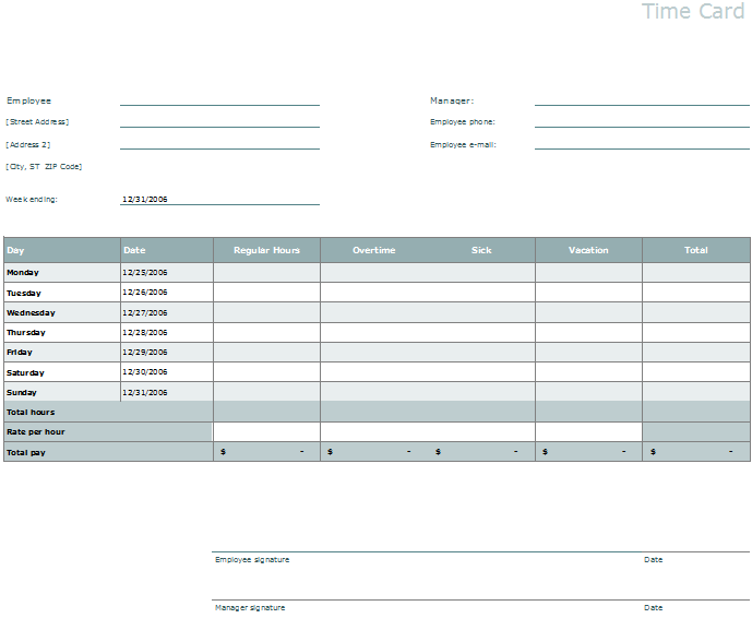 Printable Time Card Template  Free Time Card Template