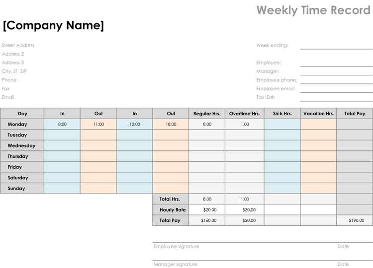 Time Card Template Easily Organize Employees Timings - Time card template