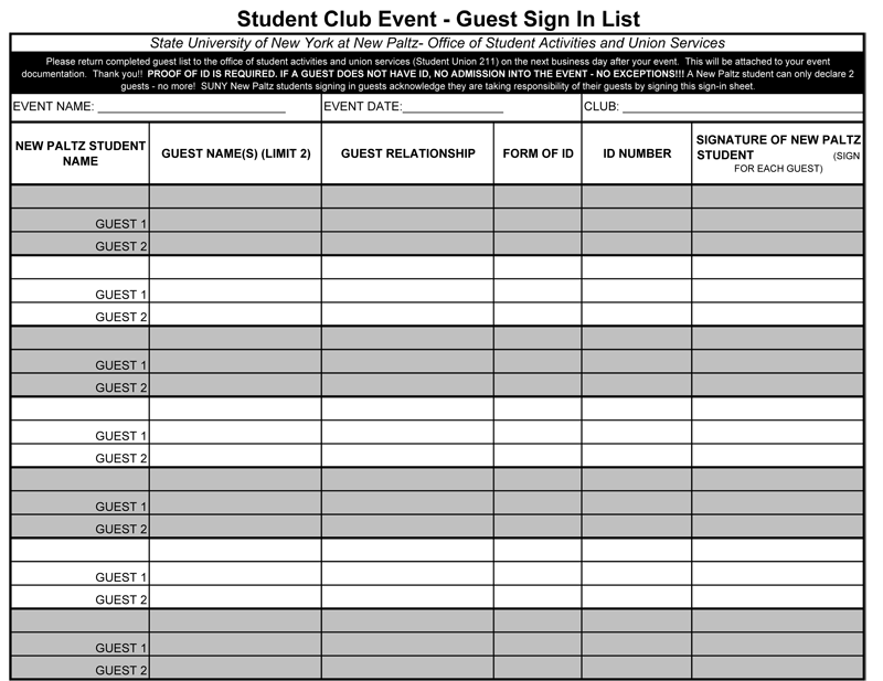 Student Club Event Guest Sign In Sheet Template  Event Sign In Sheet Template Free