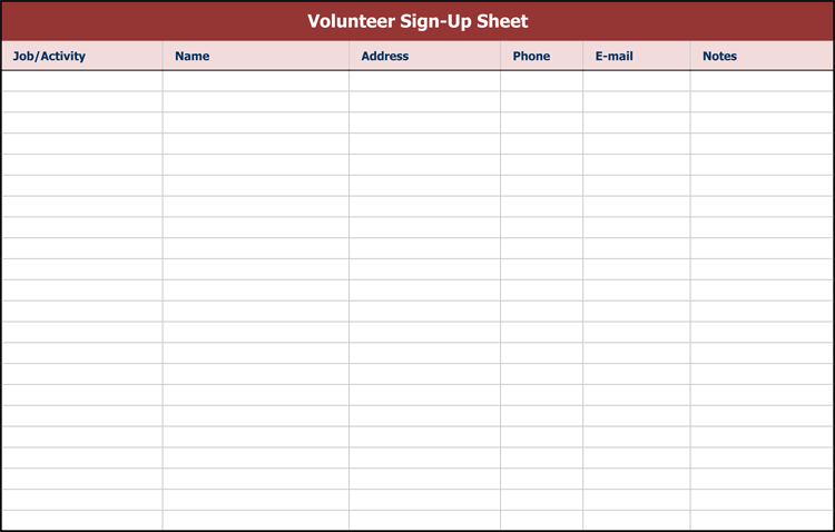 9 Sign Up Sheet Templates to Make Your Own Sign Up Sheets – Excel Sign in Sheet Template