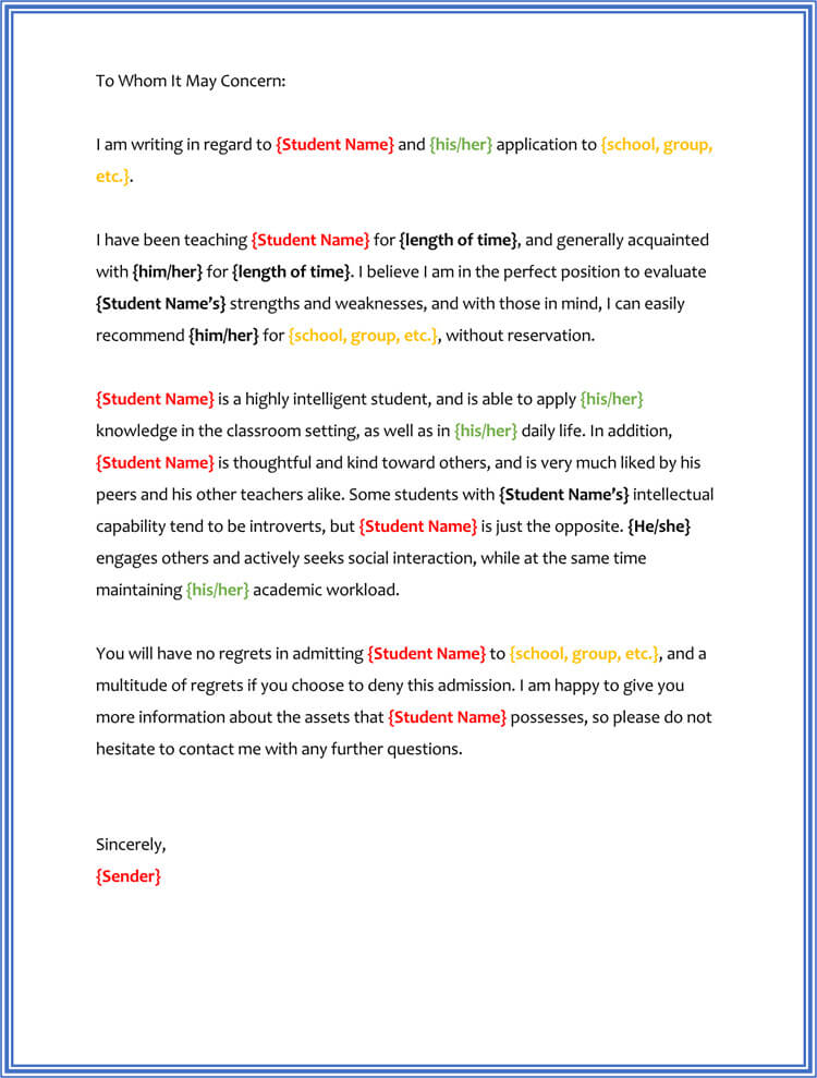 Character Reference Letter Template for Student