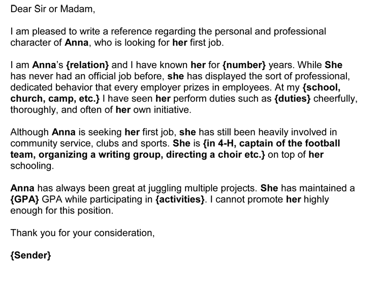 work letter of recommendation sample
