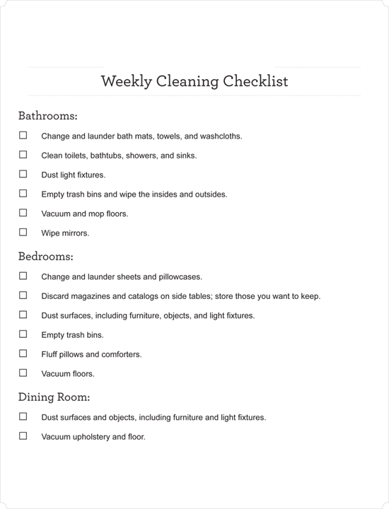 House Cleaning Checklist Template PDF