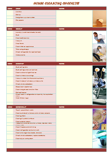House Cleaning Checklist Template for Excel®