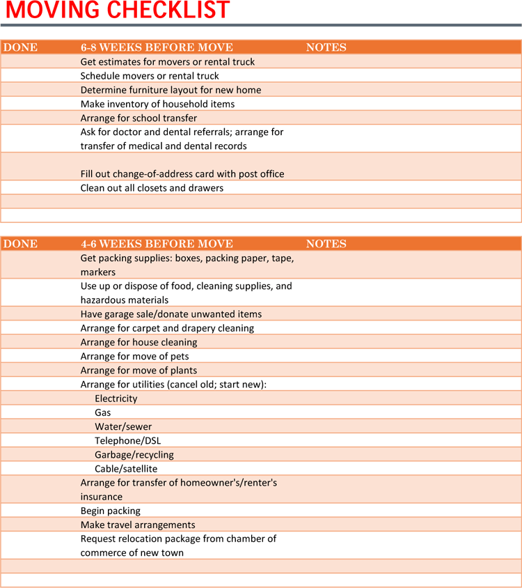 Moving Checklist Template for Microsoft® Excel®