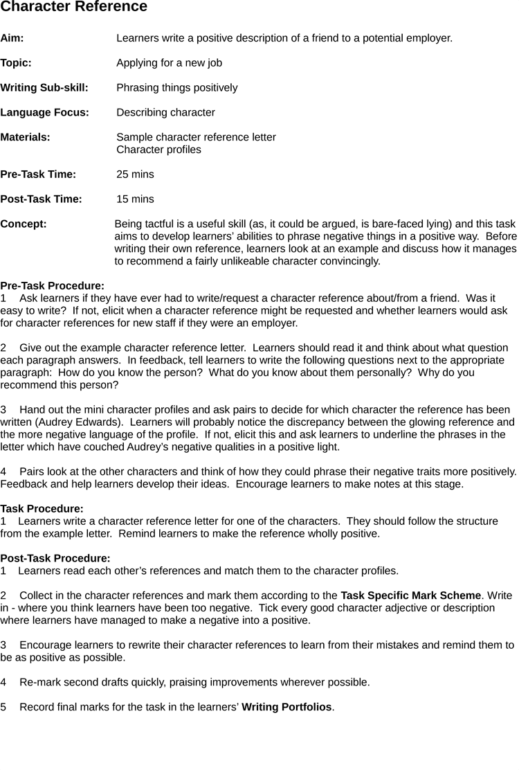 5 Samples of Character Reference Letter Template – Example Personal Reference Letter