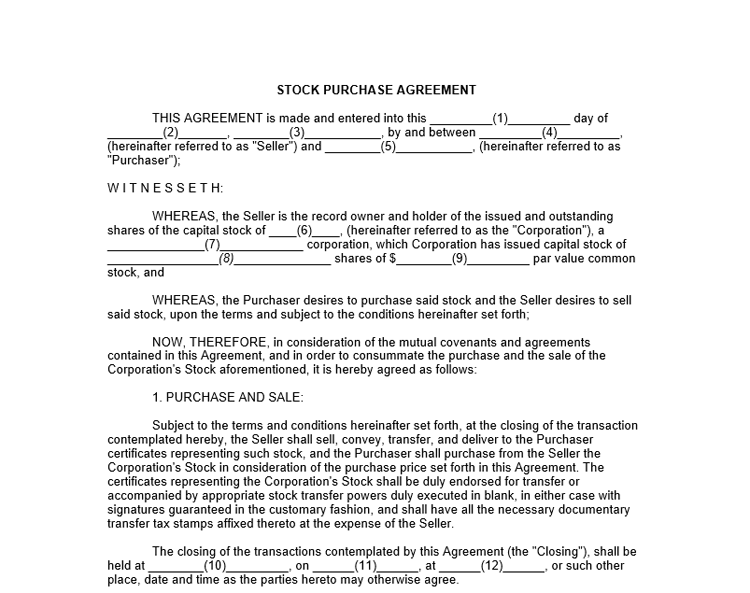 9 Purchase Agreement Templates to Write an Agreement – Stock Purchase Agreement Template