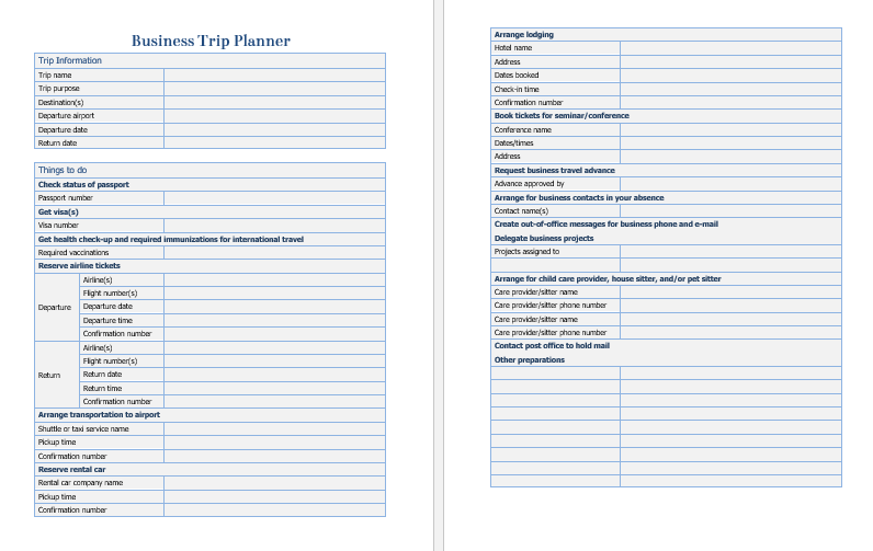 Travel Checklist Template Printable