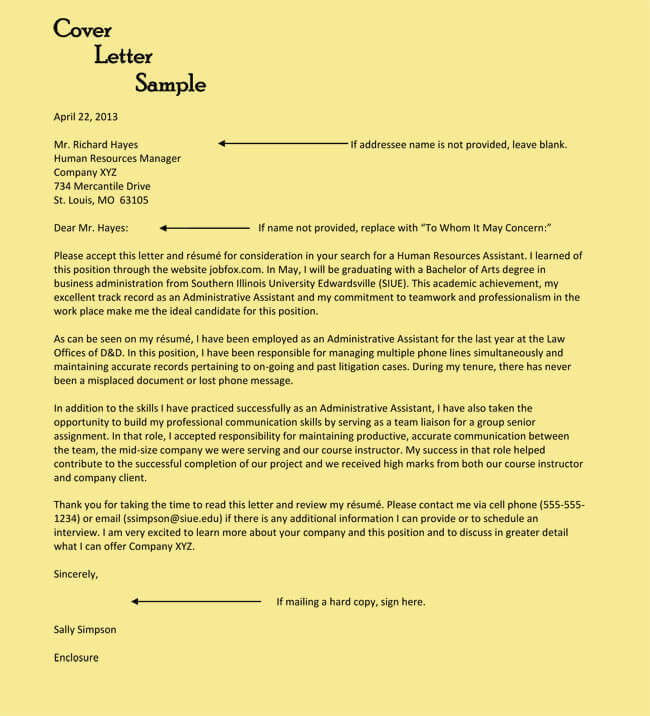 examples of administrative cover letters