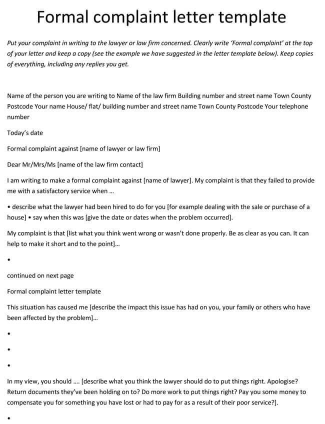 10 complaint letter templates samples in word pdf format complaint letter format against employee spiritdancerdesigns Gallery