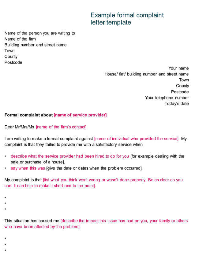 Example Formal Complaint Letter Template