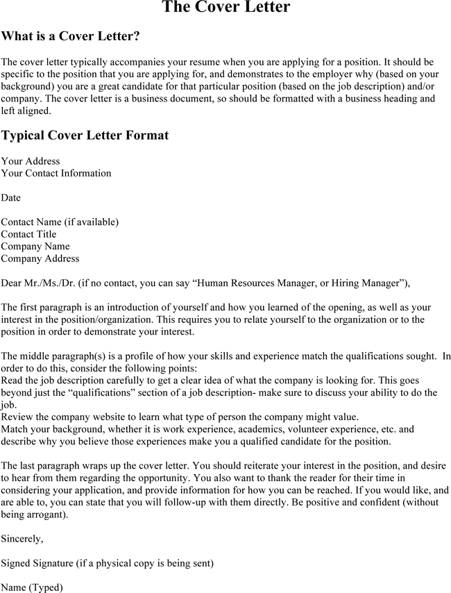 Resume Cover Letter  What to Include