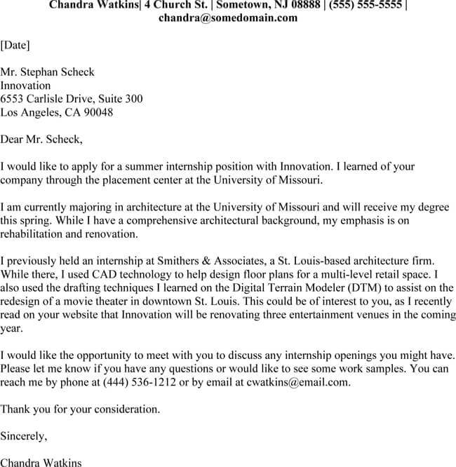 Internship Cover Letter Samples PDF