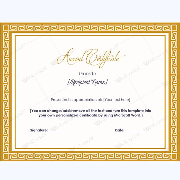 Printable Awards Word