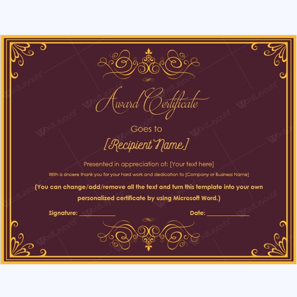 Printable Award Certificates