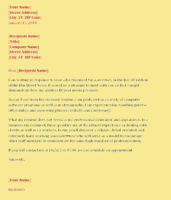 Secretary Resume Cover Letter